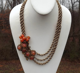 Miriam Haskell Poured Opalescent Glass Beads Necklace Brass Leaves Muli Chains