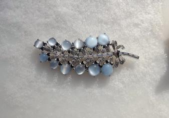 Art Deco Pin Moonstone Glass Cabs Rhinestones Enamel Channel Set Baguettes Mazer