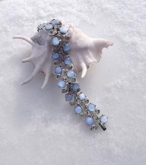 Art Deco Bracelet Moonstone Glass Cabs Pave Set Rhinestones Silver Rhodium Mazer