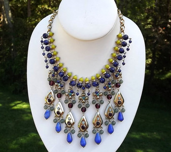 GERARD YOSCA Statement Necklace Stunning Waterfall Fringe Jewels of India Style