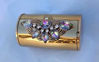"Wadsworth Jeweled Compact Cylinder Tube The ""Pandora"" Fab Watermelon Stones"