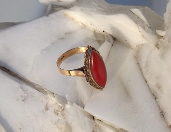 Gorgeous 14K Oxblood Red Coral Cabochon Ring, Exquisite 14K Rose Gold Mounting Estate piece