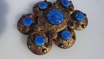 Victorian Austro Hungarian Etruscan Revival Belt Buckle Glass Opals Pearls Hallmark