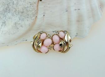 Crown TRIFARI Jewels of India Earrings Pink Glass Cabochons Rhinestones