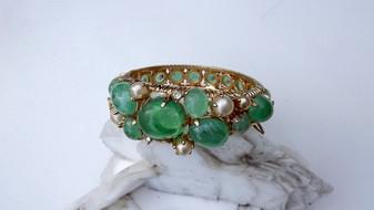 GRIPOIX Rare Vintage Poured Green Glass Bracelet Marvella Masterpiece