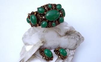 SELRO Jade Glass Cabs Bracelet Ears Set Ornate Repousse Brass Tudor Inspired