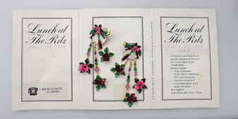 """LUNCH AT THE RITZ """"Rosalie"""" Earrings Pink Red Roses Enamel Xmas Christmas"""