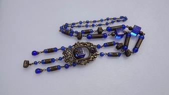 Czech, Blue Glass, Filigree Brass, Max Neiger, Flapper Necklace, Cube Beads, Edwardian, Cherubs