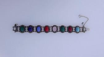 Vintage Judy Lee Glass Scarab Cabs Bracelet Ornate Repousse Antiqued Silver
