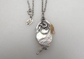 HUGE 42mm White Drop Keshi Reborn Pearl Pendant With Mermaid Adornment