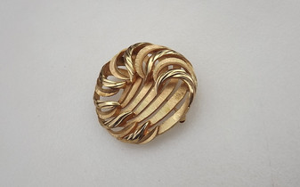 Vintage Trifari Brooch Waves Design 3D Abstract 1960's Pin Old Costume Jewelry
