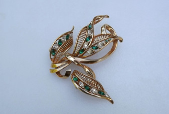 Vintage JEWELS  By JULIO Marcella  Retro Leaf Spray Brooch 1940s Earrings Set Old Costume Jewelry