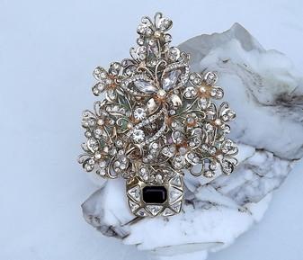 Spectacular Rhinestone Christmas Tree Brooch Xmas Pin
