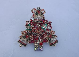 Exquisite Huge Rhinestone Christmas Tree Brooch Xmas Bells  Bows Pin