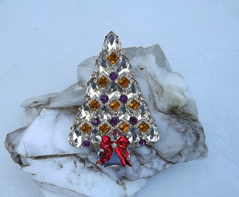 Super Bling Diamond Pear  Shaped Rhinestones Christmas Tree Brooch Xmas Pin