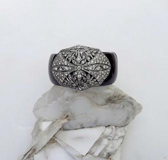 Art Deco Paste Stones Clamper Bracelet Wide Black Plastic Hinged Statement Piece