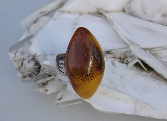 Arts & Crafts Russian Natural Baltic Amber Ring Antique Silver Sterling 875