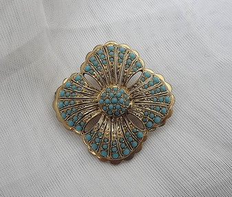Sterling Vermeil Turquoise Glass Brooch Gold Beading Etruscan Style Persian Old Costume Jewelry