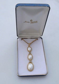 Vintage Jewelry For Her Trifari Pendant Past Present Future Design Glass Pearl Cabs Necklace In Original  Box