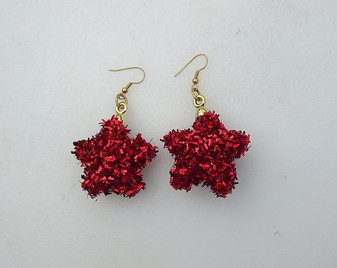 Sparkly Red Star Tinsel Ornament Earrings Big Fun Pair