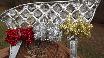 Sparkly Silver Star Tinsel Ornament Earrings Big Fun Pair