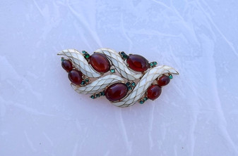 Vintage Crown TRIFARI L'Orient Pin Brooch Amber Glass Cabs Creamy White Enamel