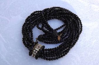 MIRIAM HASKELL Necklace 6 Strand Jet Black Glass Beads Baguette Rhinestones