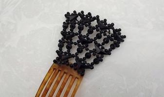 Victorian Hair Comb Spanish Mantilla Jet Black Glass Flamenco Hair Accessory