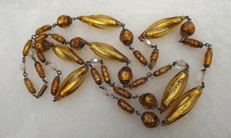 """Rare French Louis Rousselet Gold Foil Glass Beads Necklace 44"""" Long Stunning"""
