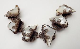 Vintage Chunky Selro Selini Ornate Bracelet MOP Filigree Metal GORGEOUS