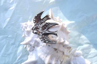 Art Deco Bluebird Swallow Bird Earrings Screw On With Rhinestones Silver Plated