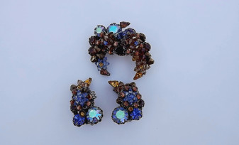 Vintage Eugene Pin Ear's Crescent Moon Set Wired Glass Beads AB Rhinestones