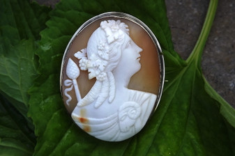 19th Century 10K Gold Cameo of Bacchus, Ram on Shoulder, Grapes & Leaves in Hair
