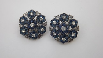Vintage Crown Trifari Blue Clear Rhinestone Earrings Flower Blossoms Cluster Design