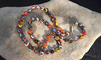 Rare Colorful Millefiori Glass In Clear Beads Necklace Hand Knotted Italy Murano