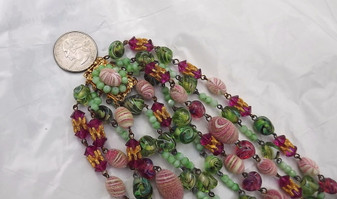 Fab 5 Strand Glass Beads Necklace, Poured Coralene Art Bicone Swirled Givre Pink