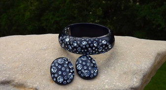 WEISS Lucite Rhinestone Hinged Clamper Set Bracelet Earrings Navy & Ice Blue Rare