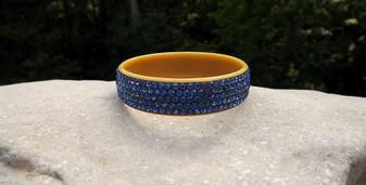 Vintage Celluloid Rhinestone Bangle Bracelet Blue Rhinestones Beautiful!