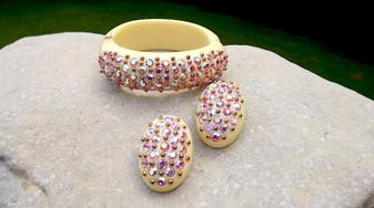 Vintage Pink AB Rhinestones Lucite Clamper Bracelet Earrings Cream Thermoset Plastic