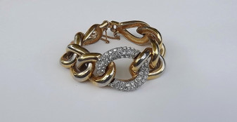 Vintage Givenchy Bracelet Huge Gold Links Rhinestone Center 80's Iconic Piece