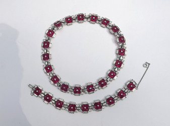 Vintage Jomaz Ruby Red Invisible Set Necklace Bracelet Set Clear Rhinestones
