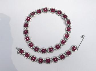 Vintage Jomaz Ruby Red Invisible Set Necklace Bracelet Set Clear Rhinestones