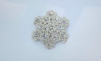 Vintage Tiny Enameled Flowers Pin Baby's Breath Blossoms Brooch AB rhinestones Snowflake Garden Wedding