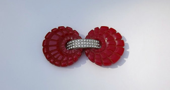 Art Deco Deeply Carved Bakelite Pin Pave Rhinestones Bright Red Brooch Hallmark