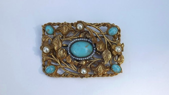 Vintage Czech Pin Gold Ormolu Brooch Glass Turquoise Cab, Glass Pearls, Victorian And Art Nouveau Influence