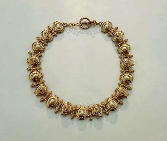 Rare Vintage Massive Chunky FENDI Choker Necklace Gold Tone Pearl Acorn Links 1980's