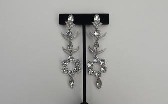 Fabulous 1945-1950 Block E EISENBERG Long Dangle Diamante Crystal Chandelier Earrings