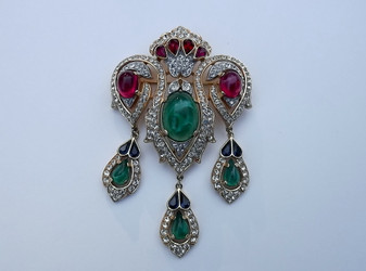 Crown Trifari Mughal Jewels of India Brooch Scheherazade Pin