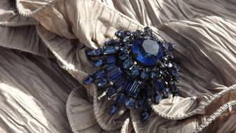 Rare 4 Tier Iconic Schreiner New York Brooch Deep Blue, Japanned Metal High Dome