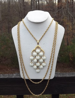Crown Trifari Waterfall Necklace White Lucite Beads Gold Chains Statement Piece